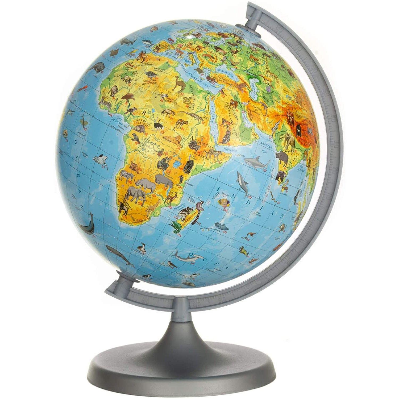 Fotografie Glob pamantesc ZooGlobe, harta fizica-zoologica, diametru 22 cm, carte 275 animale