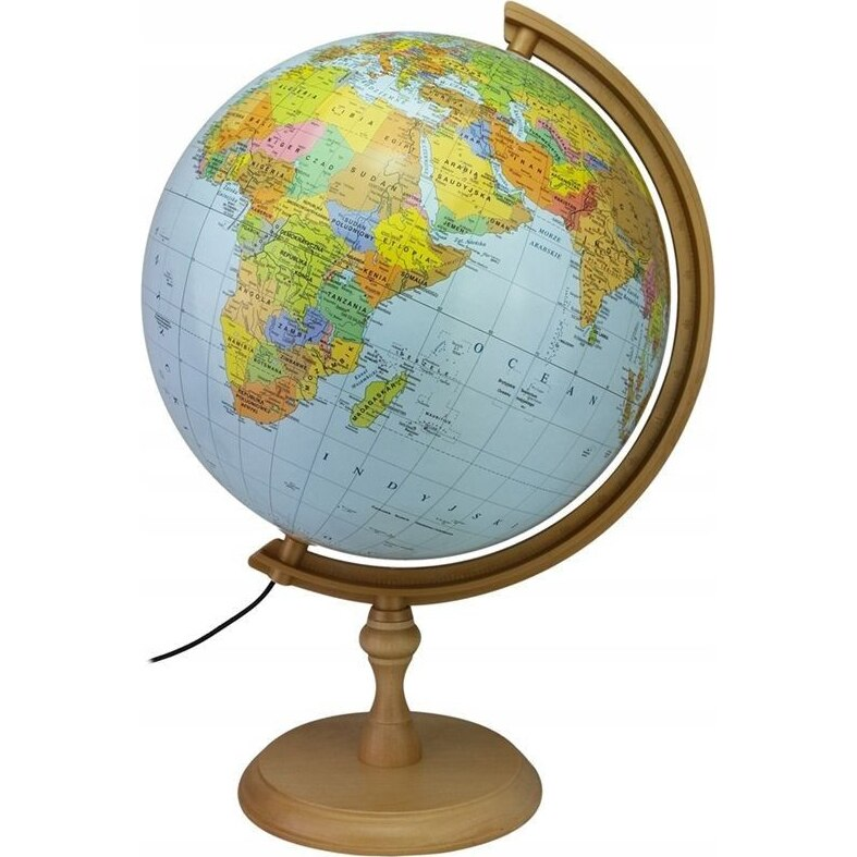 Fotografie Glob pamantesc iluminat 32 cm, harta politica si fizica, suport lemn, fus orar