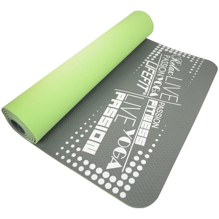 Fotografie Saltea fitness/yoga/pilates LifeFit TPE, 186x61x0.5cm, fata dubla,Verde-Gri