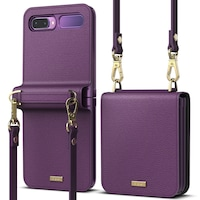 Калъф Ringke Signature Genuine Leather Gold Series за Samsung Galaxy Z Flip, Purple