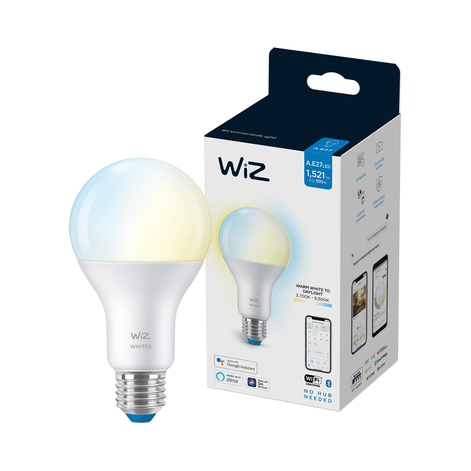Fotografie Bec LED inteligent WiZ Connected Whites, Wi-Fi, A67, E27, 13W (100W), 1521 lm, temperatura lumina reglabila (2700K-6500K), compatibil Google Assistant/Alexa/Siri