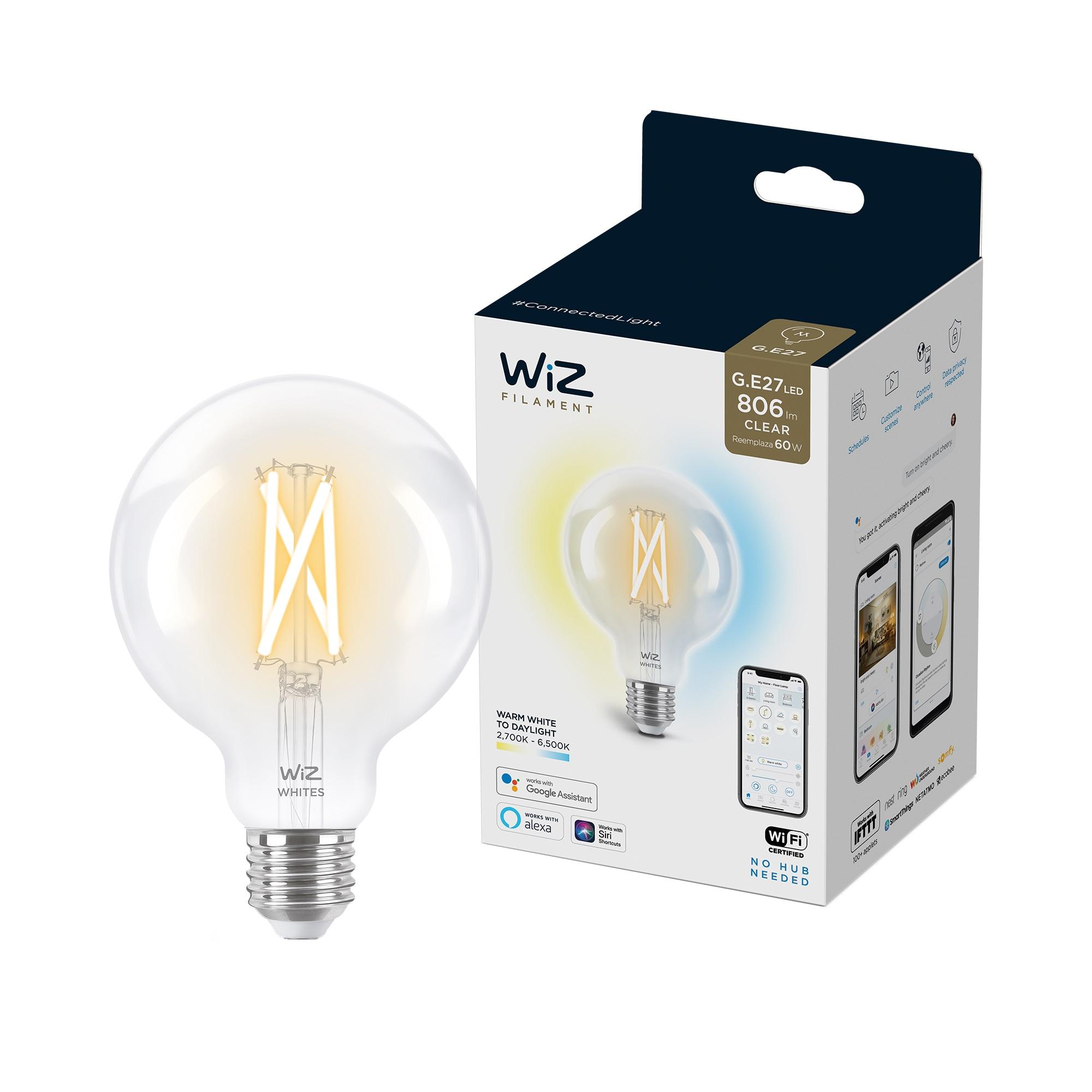 Fotografie Bec LED inteligent vintage WiZ Filament Whites, Wi-Fi, G95, E27, 6.7W (60W), 806 lm, temperatura lumina reglabila (2700K-6500K), compatibil Google Assistant/Alexa/Siri