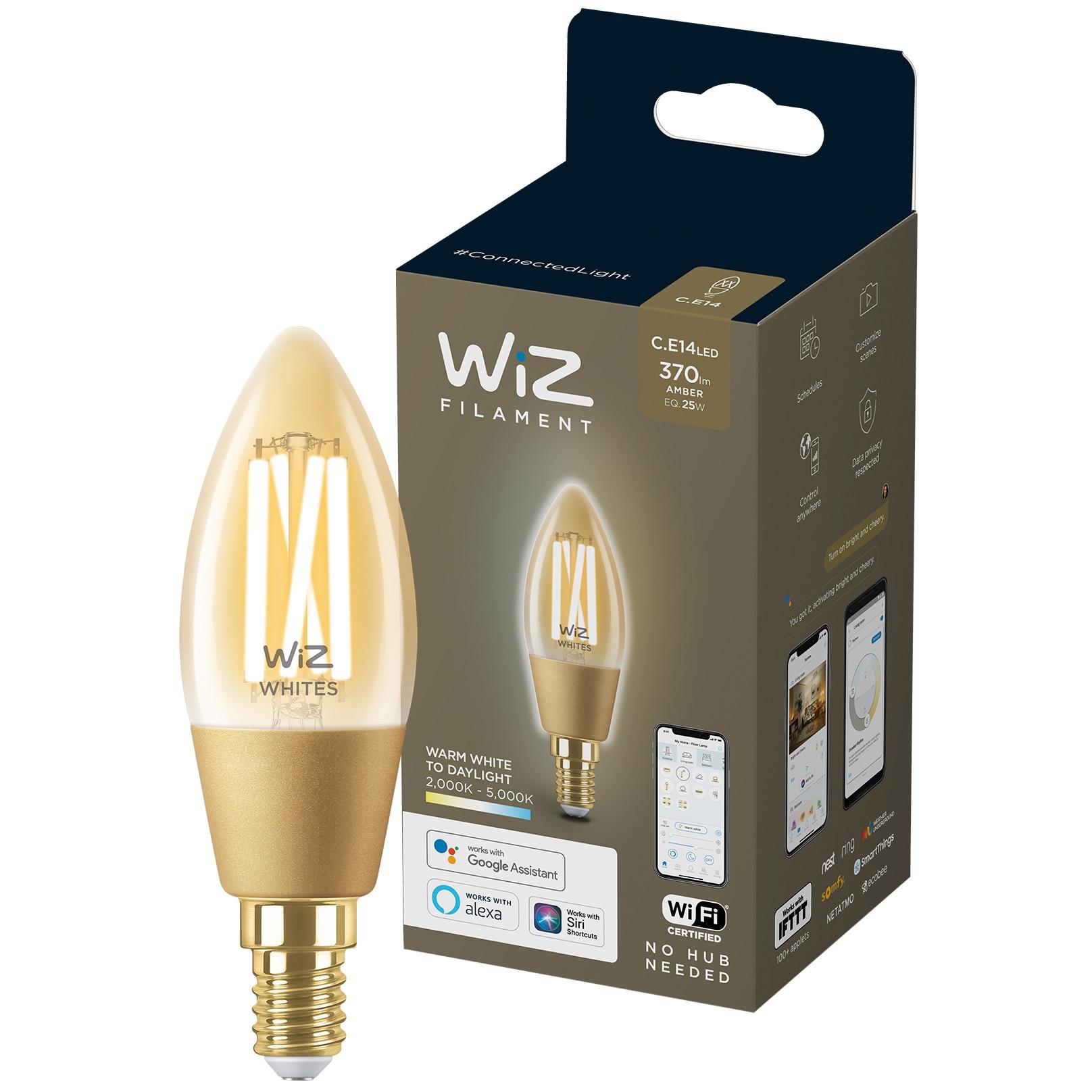 Fotografie Bec LED inteligent vintage WiZ Filament Whites, Wi-Fi, C35, E14, 4.9W (25W), 370 lm, temperatura lumina reglabila (2000K-5000K), compatibil Google Assistant/Alexa/Siri