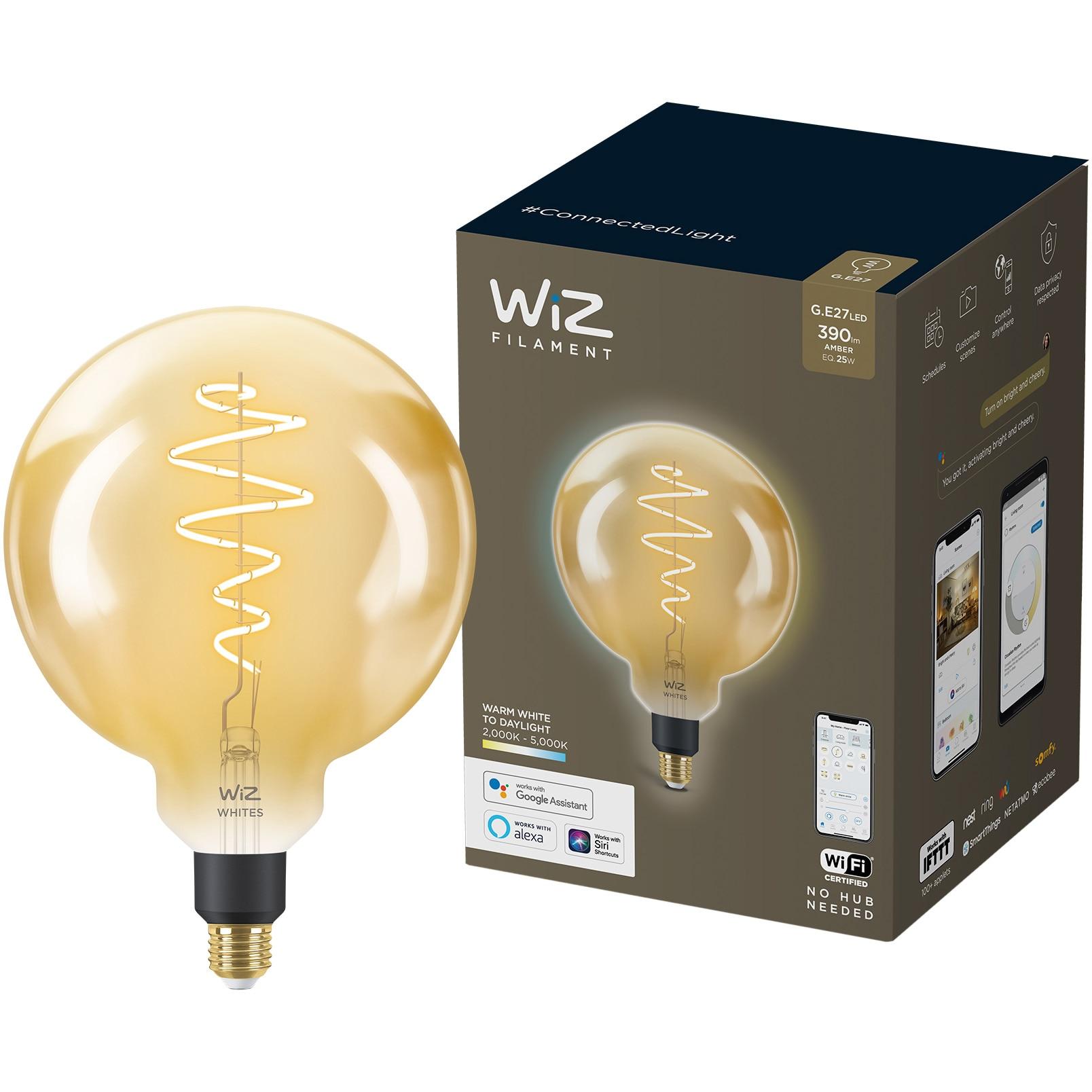 Fotografie Bec LED inteligent vintage (decorativ) WiZ Connected Filament Whites, Wi-Fi, G200, E27, 6.5W (25W), 390 lm, temperatura lumina reglabila (2000K-5000K), compatibil Google Assistant/Alexa/Siri