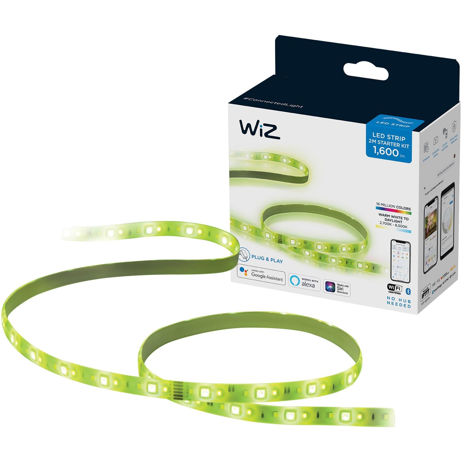 Fotografie Banda LED RGB inteligenta WiZ Connected Starter Kit, Wi-Fi, 20W, 1600 lm, lumina alba si colorata, compatibil Google Assistant/Alexa/Siri, 2 m