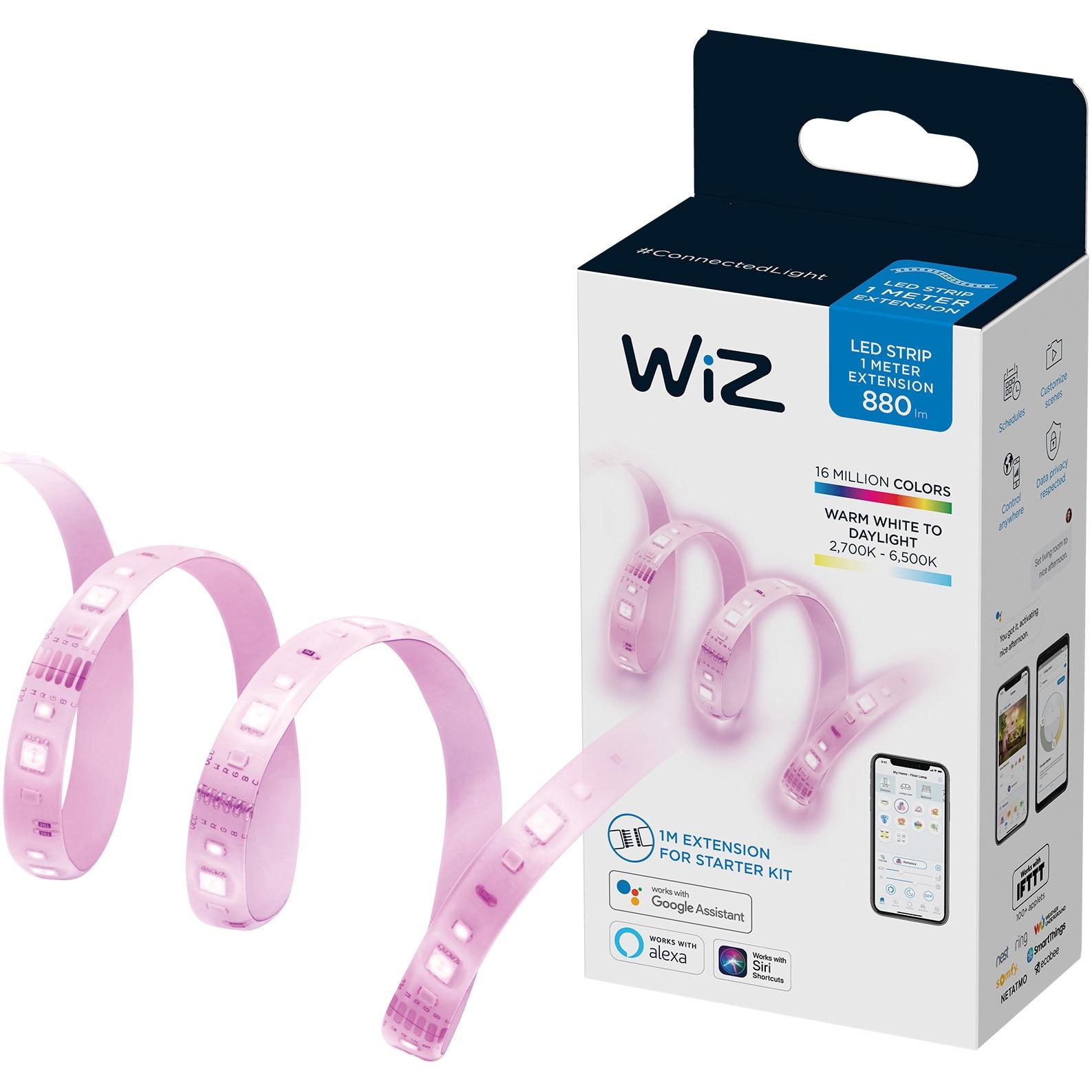 Fotografie Extensie banda LED RGB inteligenta WiZ Connected Extension, 11W, 880 lm, lumina alba/colorata, compatibil Google Assistant/Alexa/Siri, 1 m