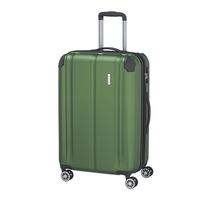 Travelite City közepes bőrönd zöld 4 kerekű bővíthető