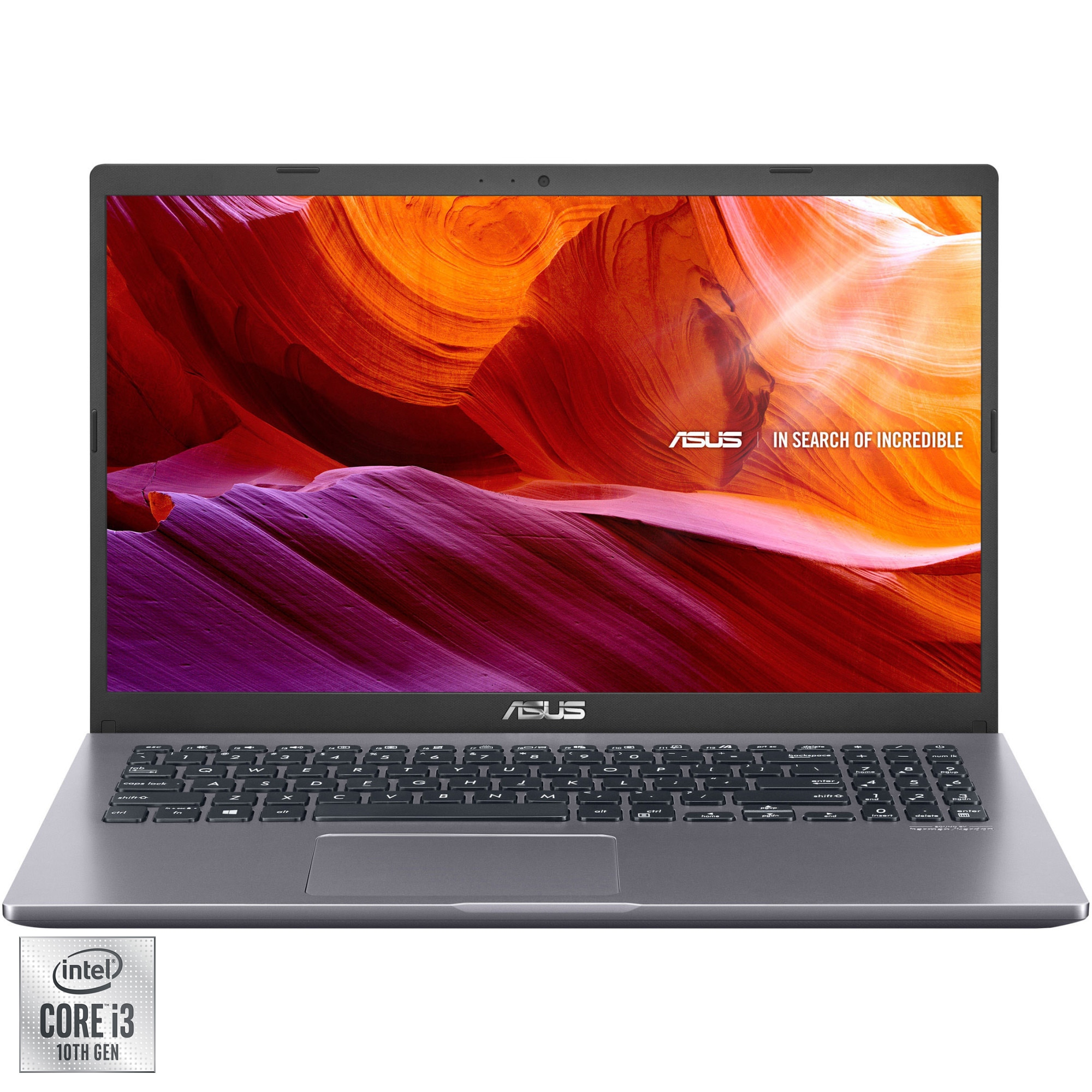 "Fotografie Laptop ASUS X545FA cu procesor Intel® Core™ i3-10110U pana la 4.1GHz, 15.6"" Full HD, 4GB, 256GB SSD, Intel® UHD Graphics, FreeDOS, Slate Grey"
