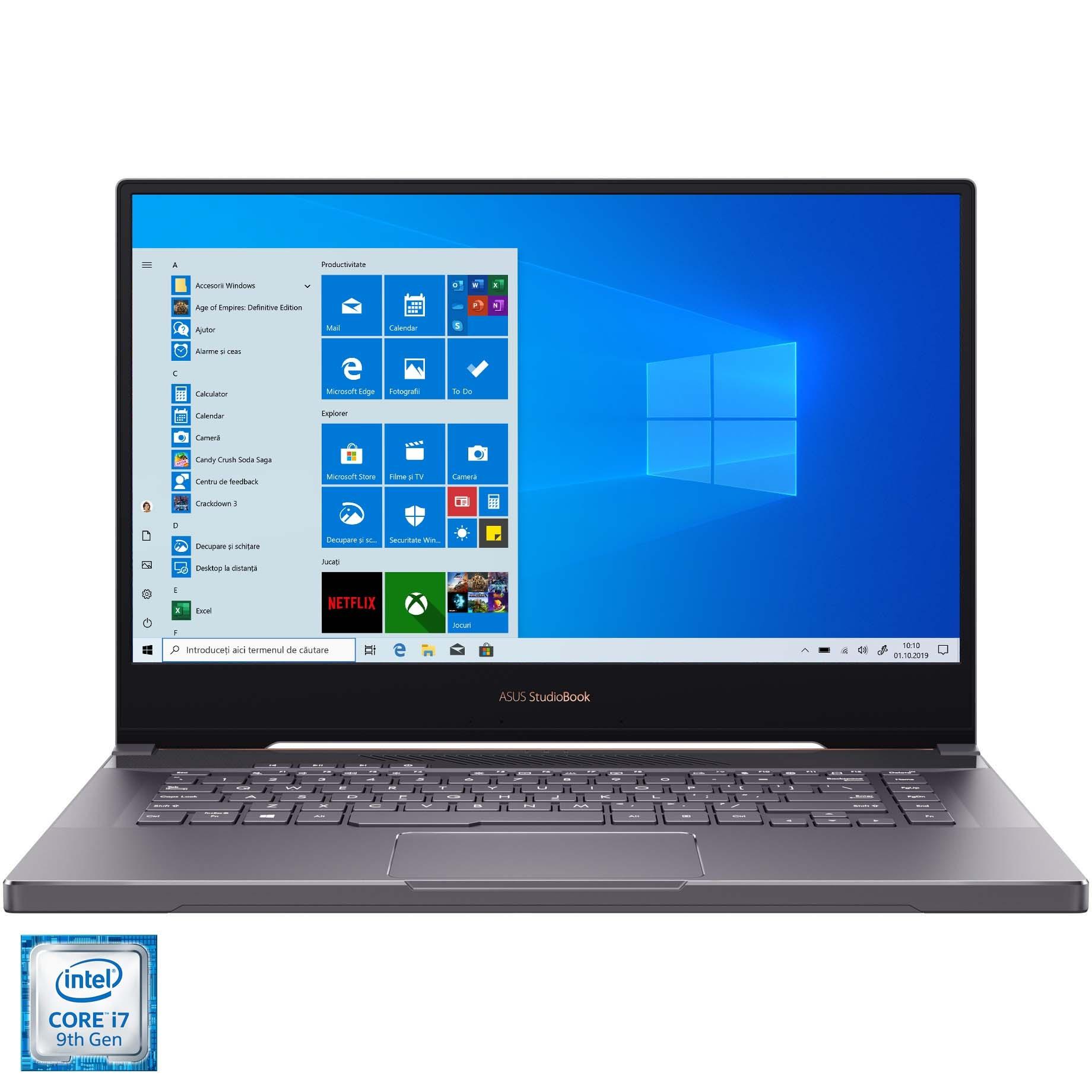 "Fotografie Laptop ASUS ProArt StudioBook H500GV cu procesor Intel® Core™ i7-9750H pana la 4.5GHz, 15.6"" 4K UHD, 16GB, 512GB SSD, NVIDIA® GeForce® RTX 2060 6GB, Windows 10 Pro, Star Grey"