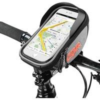 Vízálló kerékpártáska telefon tokkal, kormányra szerelhető, kompatibilis akár 16 cm-es telefonoknak, mindkét oldalán fényvisszaverő szalag, tárhely 0,5 L, ezüst