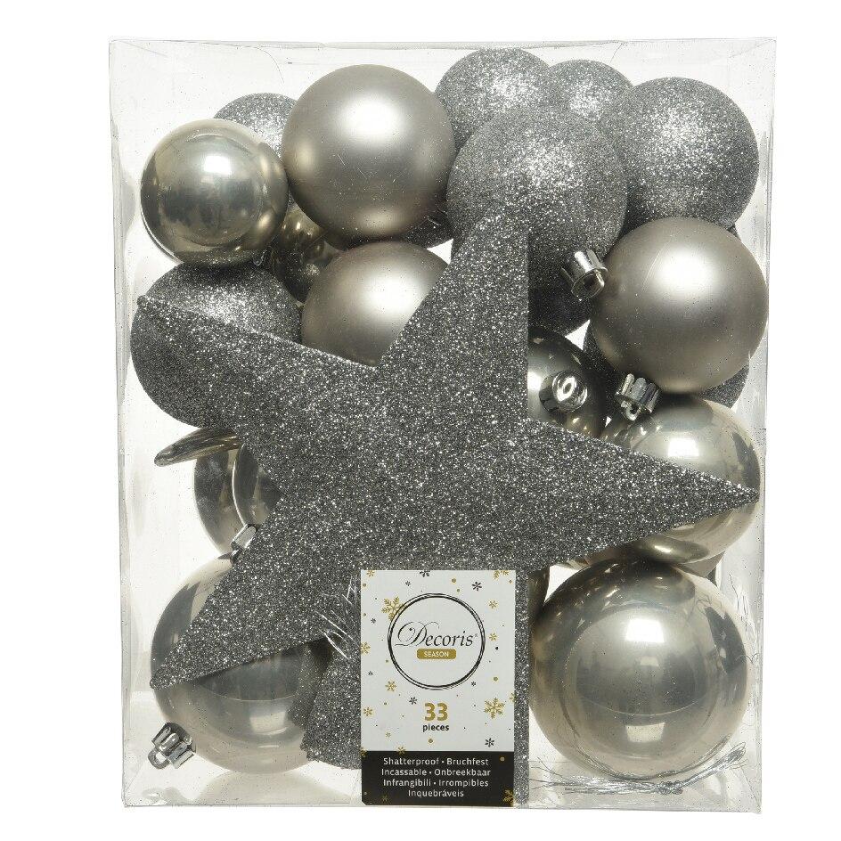 Fotografie Set 32 globuri cu varf de brad kaemingk, plastic, dimensiuni asortate, gri