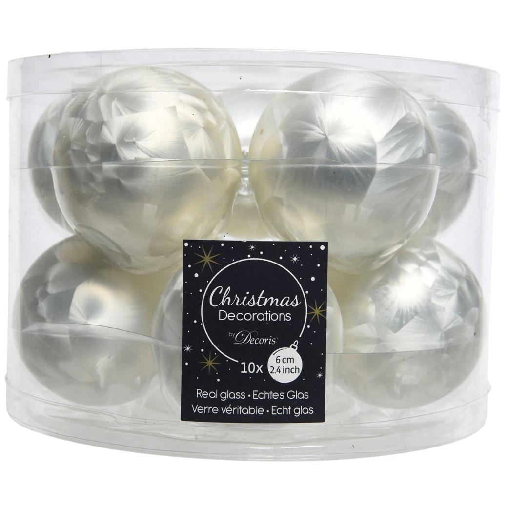 Fotografie Set 10 globuri kaemingk, sticla, 6 cm, alb mat aspect pana