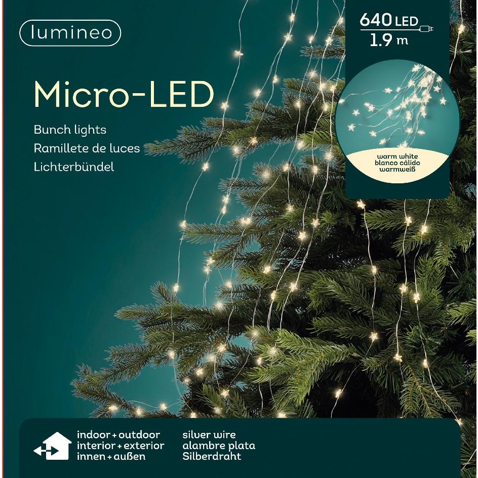 Fotografie Instalatie de Craciun kaemingk, tip manunchi stelute, interior/exterior, 640 LED-uri, 190 cm, lumina calda