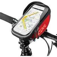 Vízálló kerékpártáska telefon tokkal, kormányra szerelhető, kompatibilis akár 16 cm-es telefonnal, mindkét oldalon fényvisszaverő szalag, 20x11x9 cm tárhely, Piros