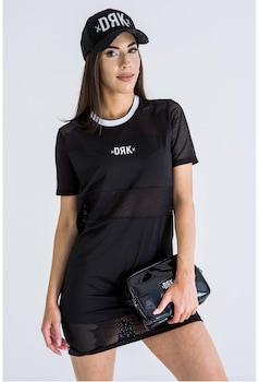 MESH JERSEY DRESS WOMEN, Fekete