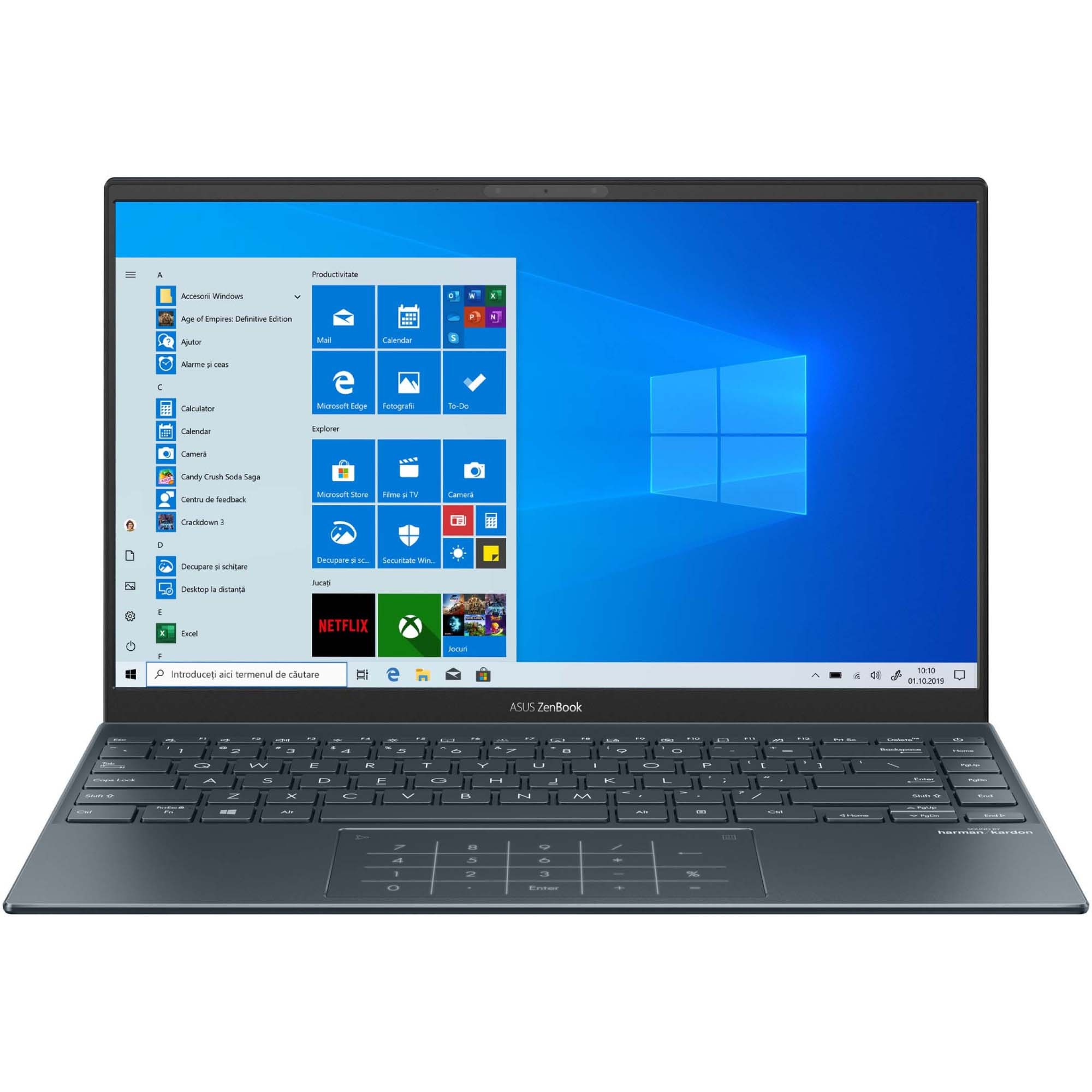 "Fotografie Laptop ultraportabil ASUS ZenBook 14 UM425IA cu procesor AMD Ryzen™ 7 4700U pana la 4.10 GHz, 14"", Full HD, 16GB, 1TB SSD, AMD Radeon™ Graphics, Windows 10 Pro, Pine Grey"