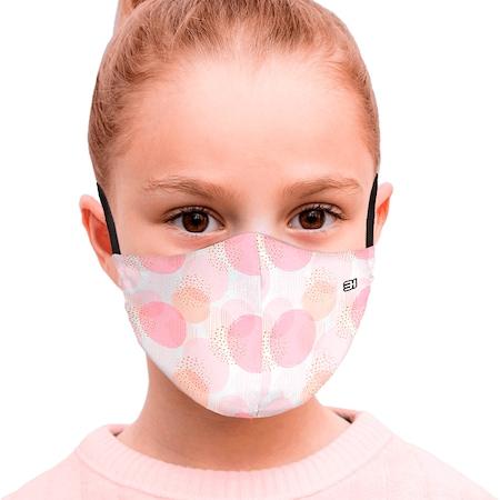 Be Happy Prémium Designer Gyermekmaszk, Ezüst szálas pamut belsővel, 2 Rétegű, Mosható, Fertőtleníthető, Állítható Pánttal, Pink buborék minta