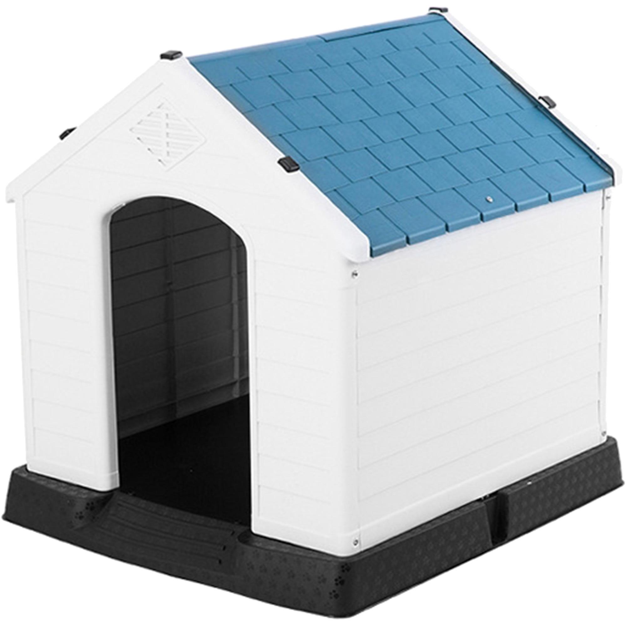 Fotografie Cusca pentru caini, Brown Dog, din plastic, 105x96x98.5 cm, Alb/Albastru/Negru