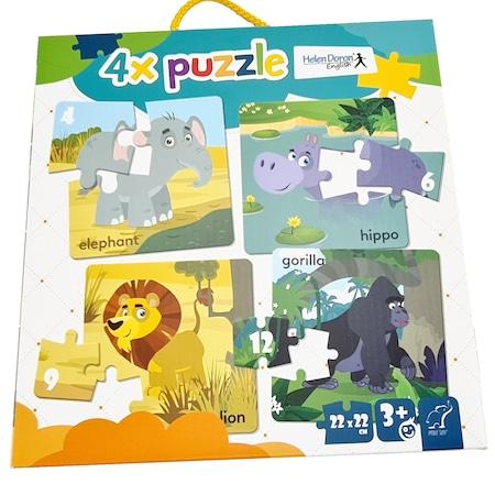 Set 4 puzzle pentru copii 3 ani+, Animale din Africa, 22 x 22 cm, 31 piese