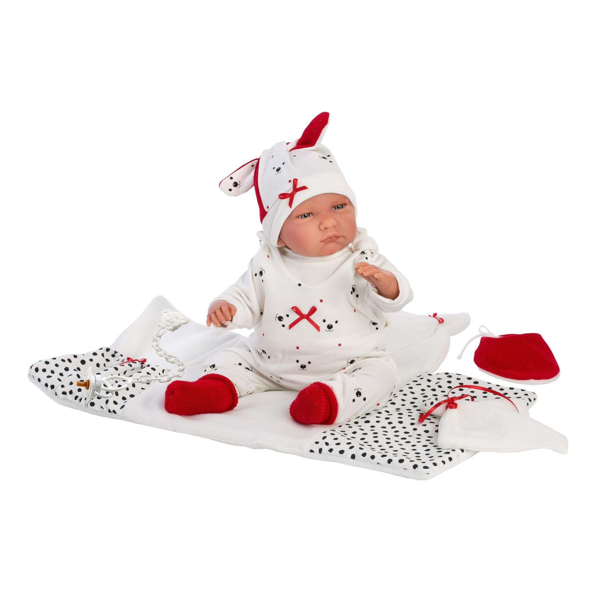 Fotografie Papusa interactiva Llorens Newborns That Cry - Baby Lalo, cu paturica, 42 cm