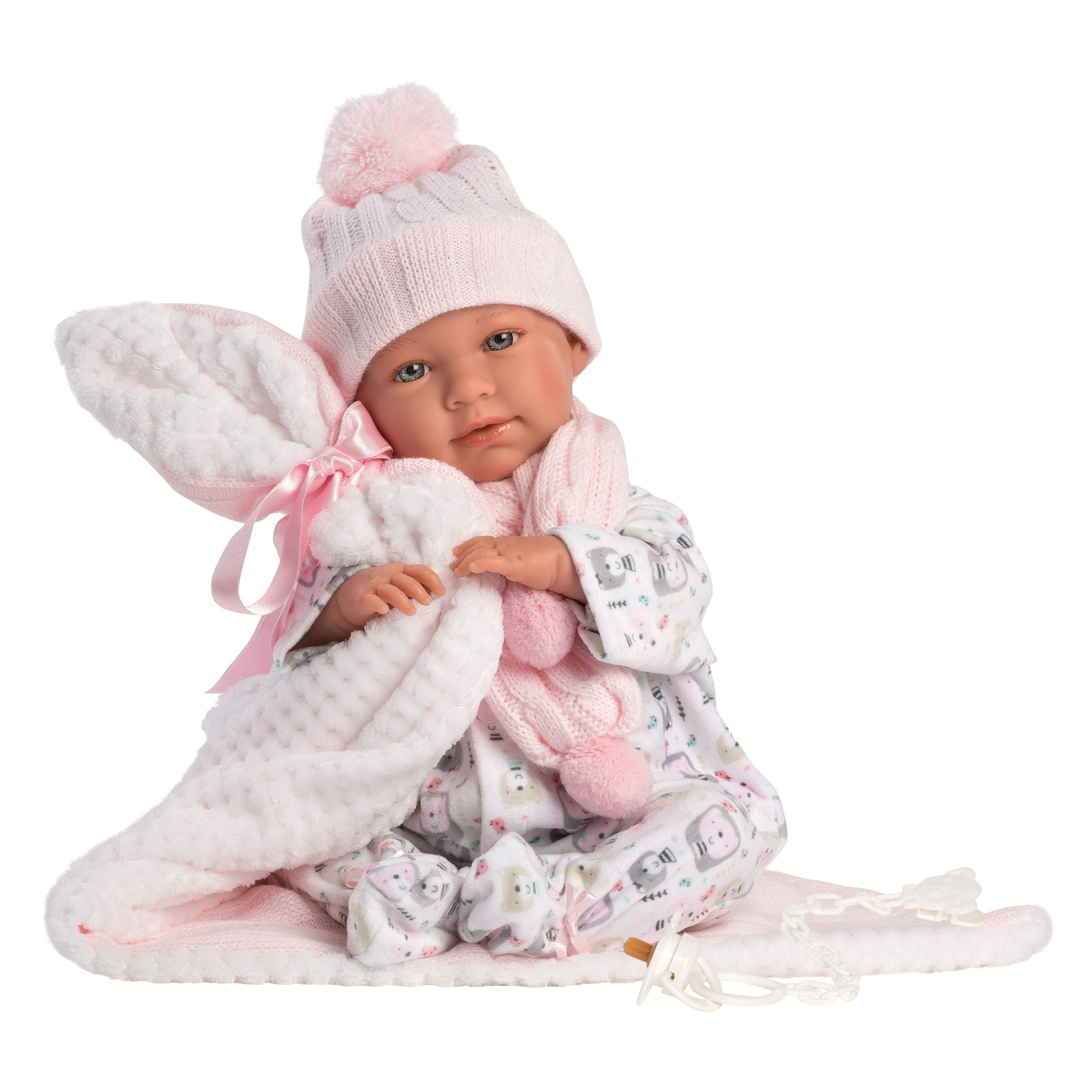 Fotografie Papusa interactiva Llorens Newborns That Cry - Baby Mimi, cu paturica alba, 42 cm