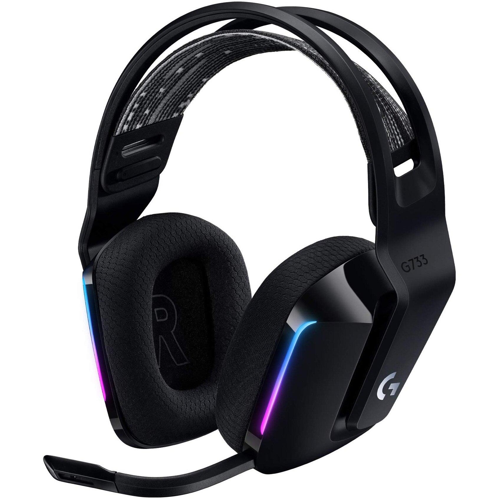 Fotografie Casti gaming wireless Logitech G733, ultrausoare, Lightsync RGB, Negru