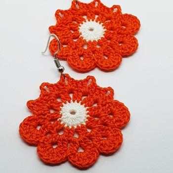 Narancsos horgolt fülbevaló
