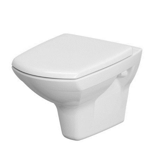 Fotografie Vas WC suspendat Cersanit Carina 548, K701-033, Clean ON, evacuare orizontala, cu capac duroplast, inchidere lenta, ceramica sanitara
