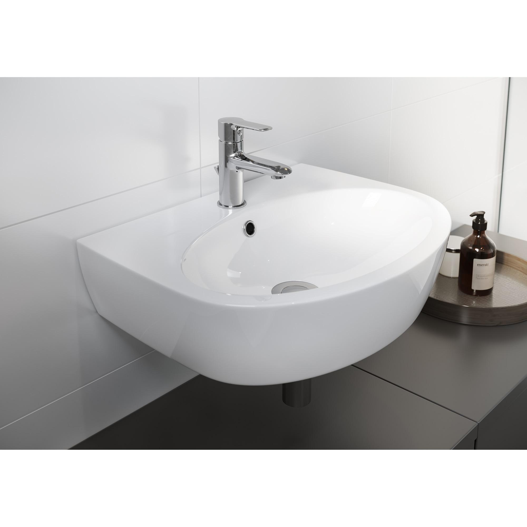 Fotografie Lavoar (chiuveta baie) Cersanit Viva, K27-116, ceramica, montare semi-piedestal/perete, 50 cm