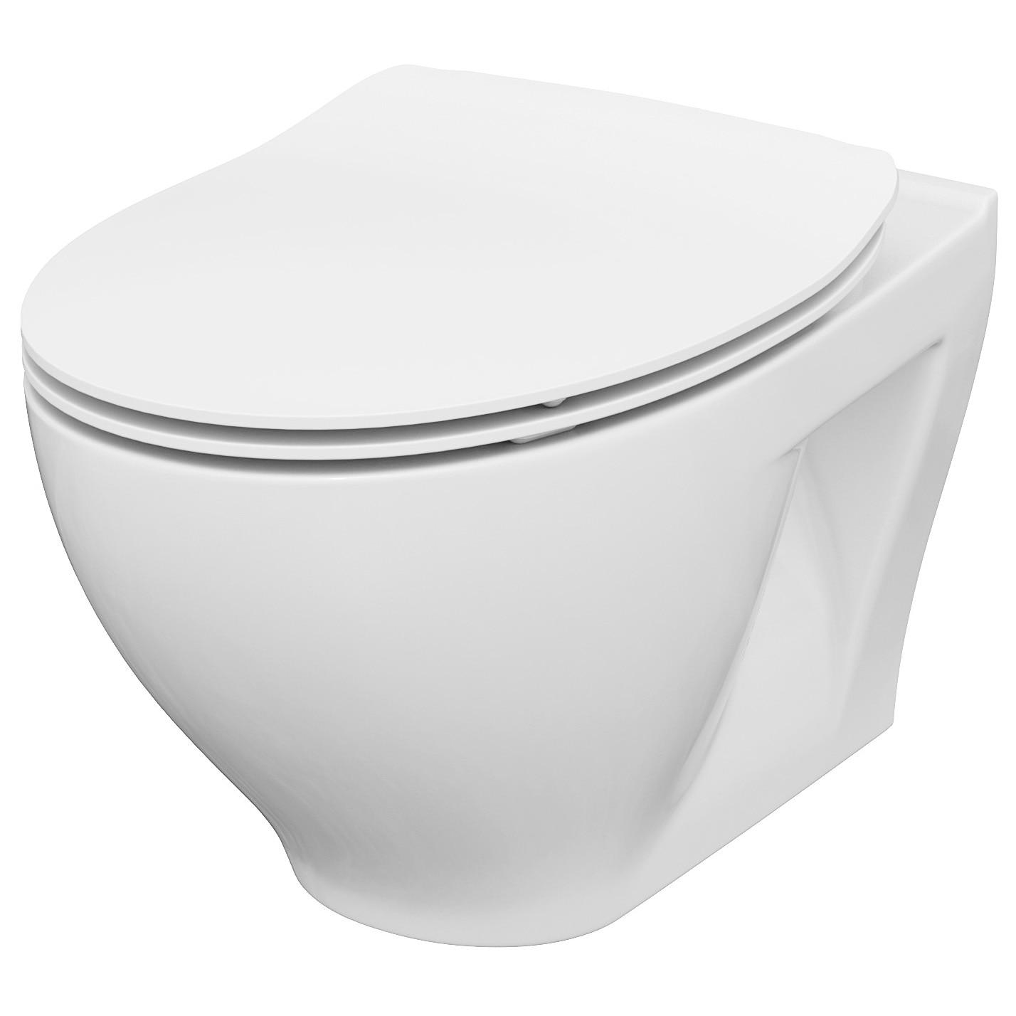 Fotografie Vas WC suspendat Cersanit Moduo 934, K701-147, Clean ON, cu capac duroplast slim, inchidere lenta
