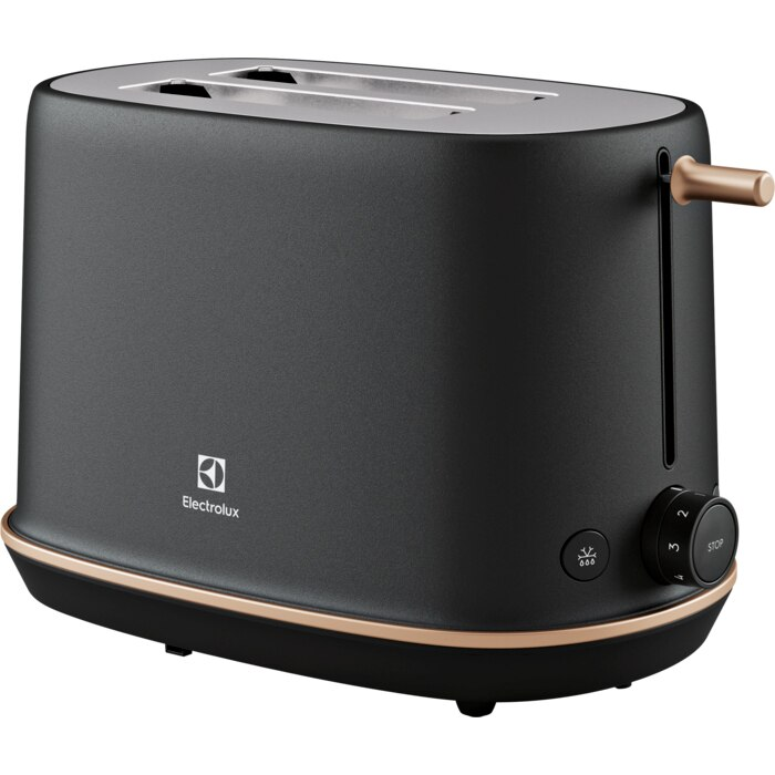Fotografie Prajitor de paine Electrolux E7T1-6BP, 980W, inox, 2 felii, 7 setari temperatura, Metal Perlat Negru