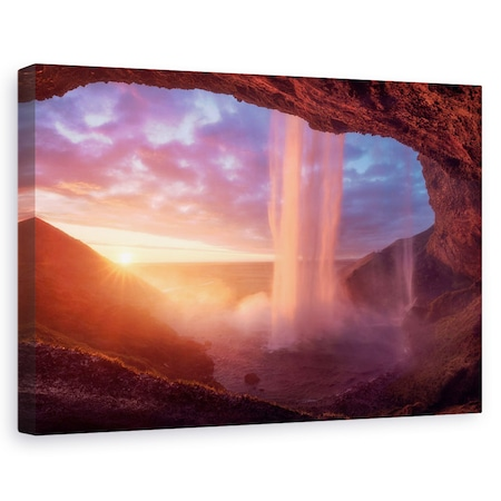Tablou canvas - Un Zid De Flacari, Roz, Cascada, Pestera, Peisaj, Flux, 20 x 30 cm