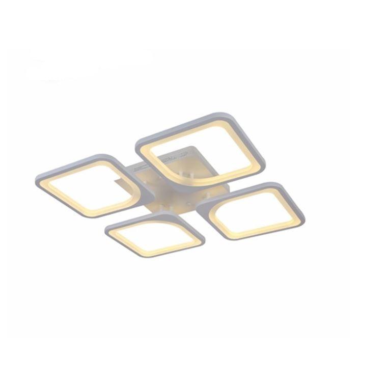 Fotografie Lustra LED integrat SLC Quadratom 4, 44-88W, cu aplicatie telefon, telecomanda, lumina calda/neutra/rece, intensitate reglabila, 40 cm, Alb