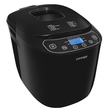 Хлебопекарна Concept PC5510, Мощност 550 W, 700/1000 грама, 12 предварително зададени програми, LCD дисплей, Отложен старт до 13 часа, Функция Keep Warm до 60 минути, Защита от прегряване, Черен