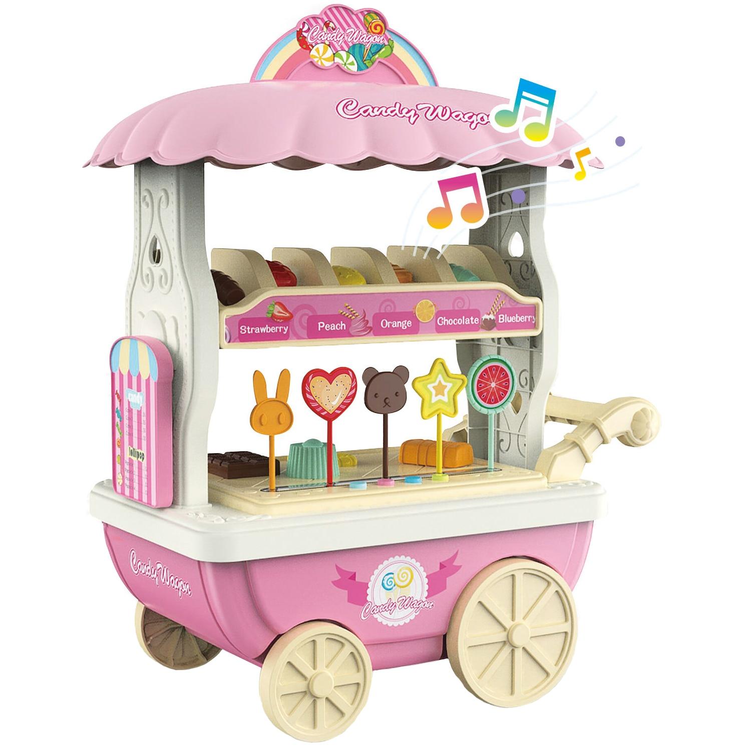 Fotografie Set de joaca M-Toys Caruciorul cu bomboane, cu lumini si sunete, Roz