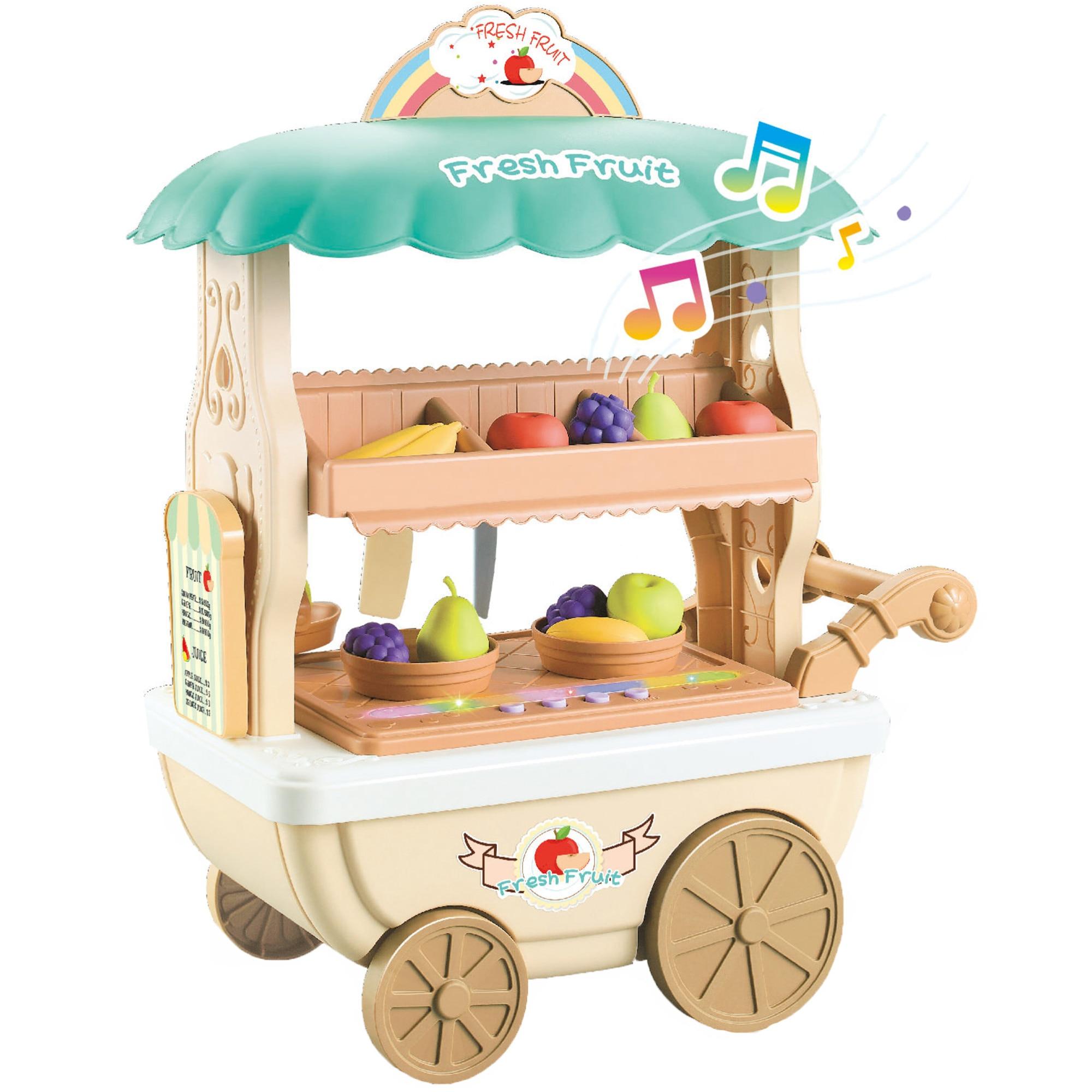 Fotografie Set de joaca M-Toys Caruciorul cu fructe, cu lumini si sunete, Bej