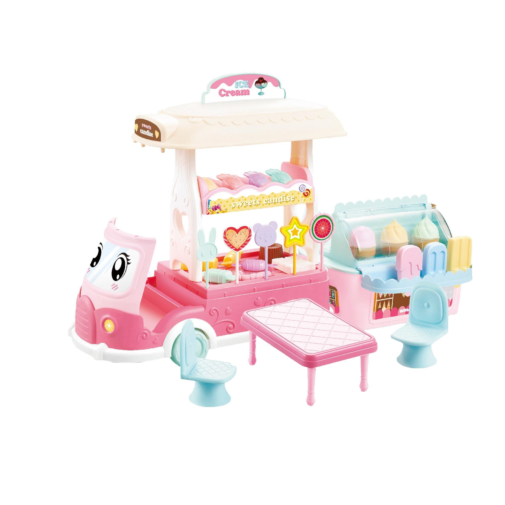 Fotografie Set de joaca M-Toys Masinuta cu inghetata si bomboane, Roz