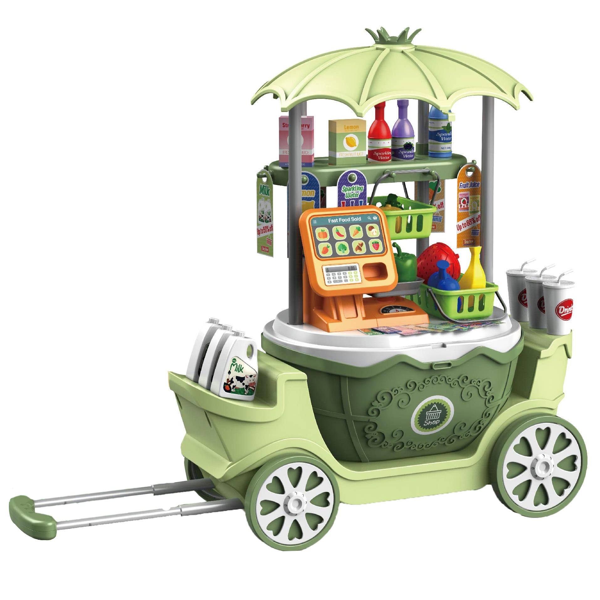 Fotografie Set de joaca M-Toys Supermarketul Mobil 4in1, 50 piese, Verde