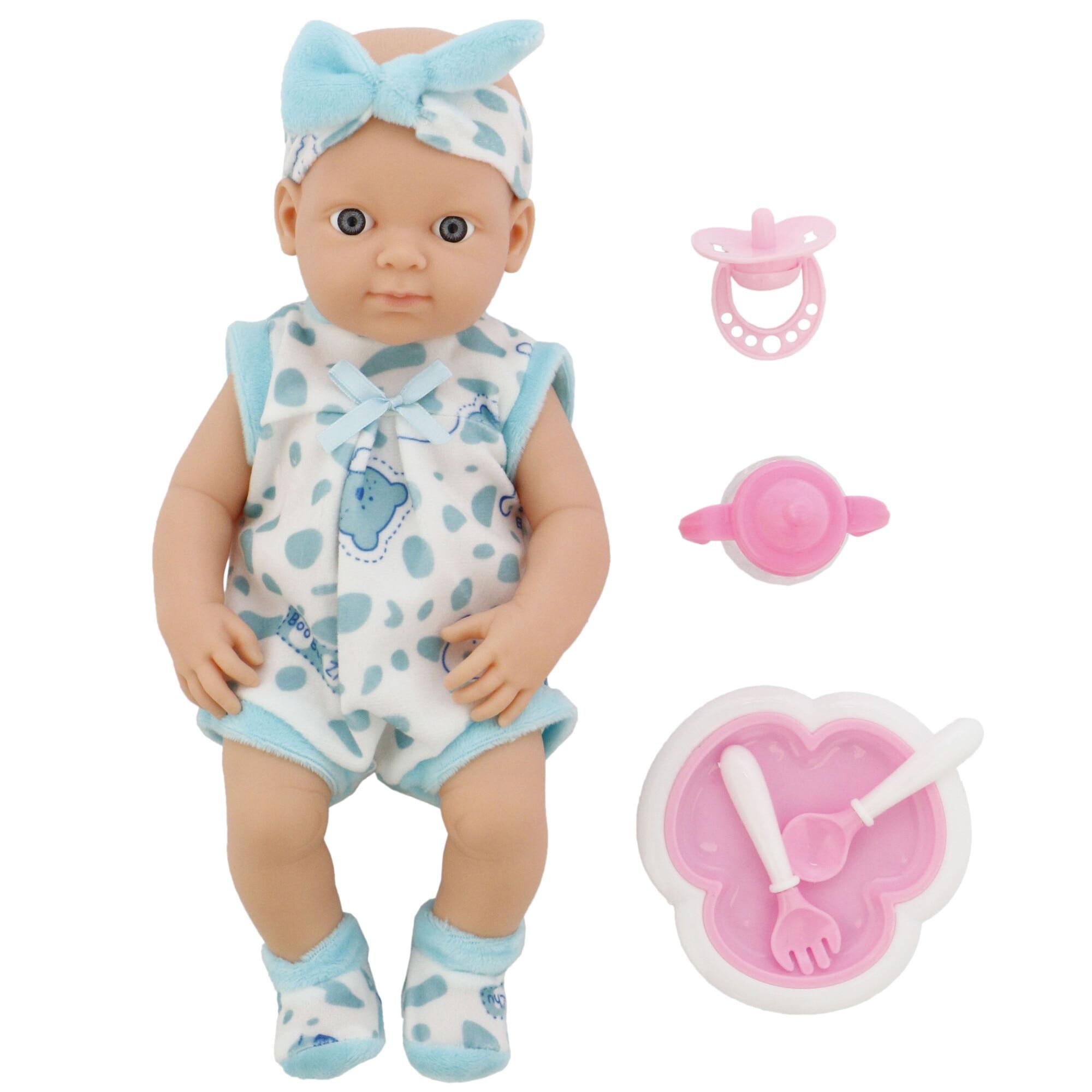 Fotografie Papusa bebelus M-Toys Baby 30 cm, cu accesorii, Alb / Bleu