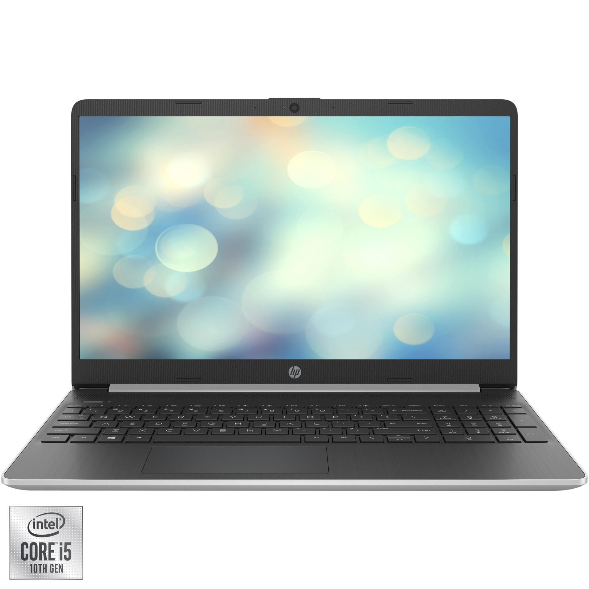 "Fotografie Laptop HP 15s-fq1024nq cu procesor Intel Core i5-1035G1 pana la 3.60 GHz, 15.6"", Full HD, 16GB, 256GB SSD, Intel UHD Graphics, Free DOS, Silver"