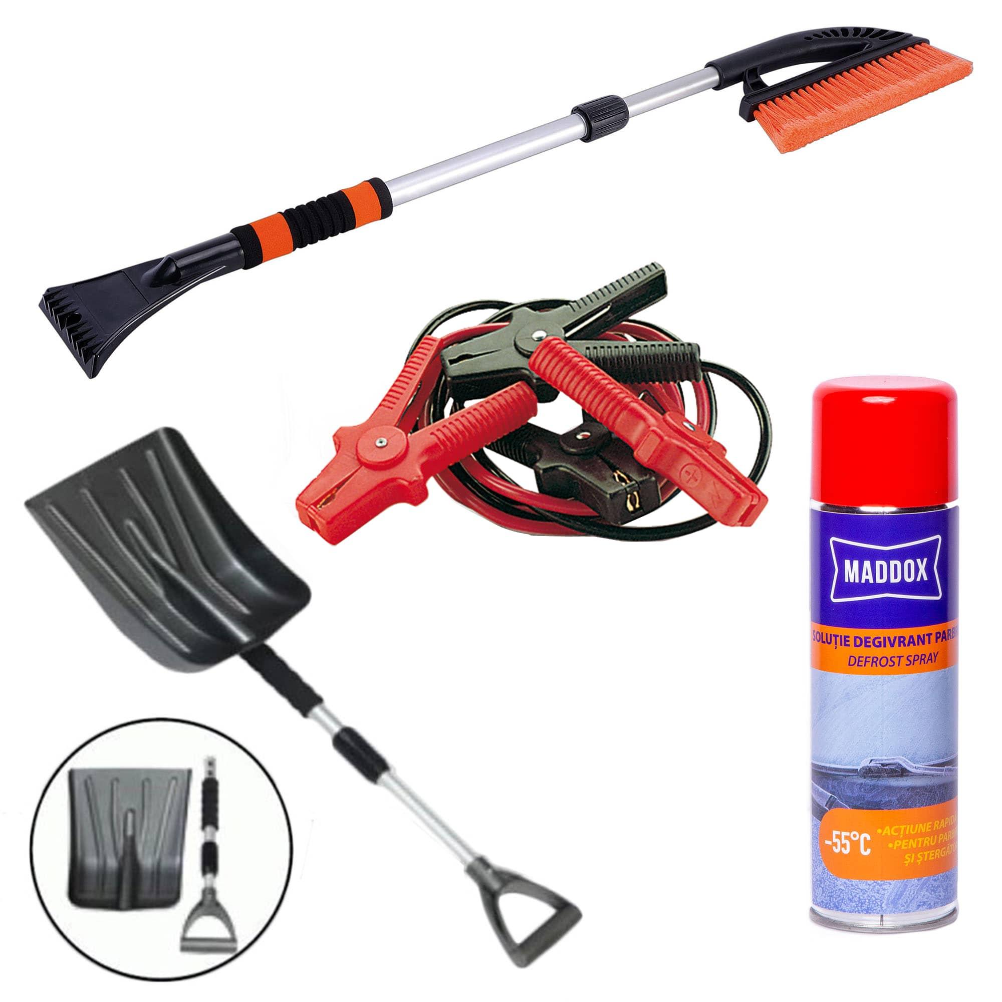 Fotografie Pachet iarna accesorii auto, contine: lopata extensibila, perie cu racleta telescopica,spray degivrant parbriz si cabluri curent 400A