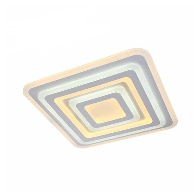 Fotografie Lustra LED integrat SLC Square, 88-176W, cu aplicatie telefon, telecomanda, lumina calda/neutra/rece, intensitate reglabila, 66 cm, Alb