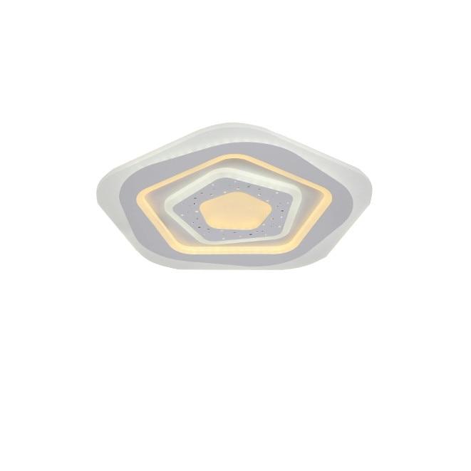 Fotografie Lustra LED integrat SLC Pentagon Stars, 100-200W, cu aplicatie telefon, telecomanda, lumina calda/neutra/rece, intensitate reglabila, 50 cm, Alb