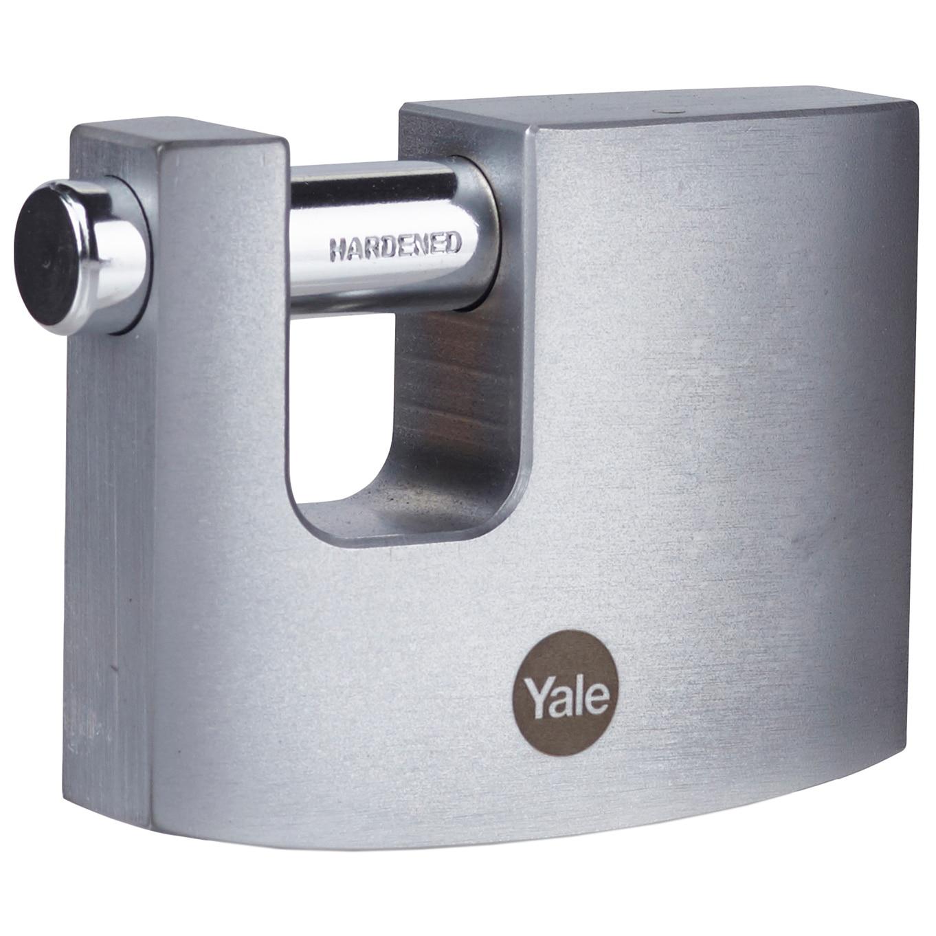 Fotografie Lacat rectangular din alamă cu finisaj cromat Yale Y124B/60/110/1, 60 mm, 10 mm diametru veriga