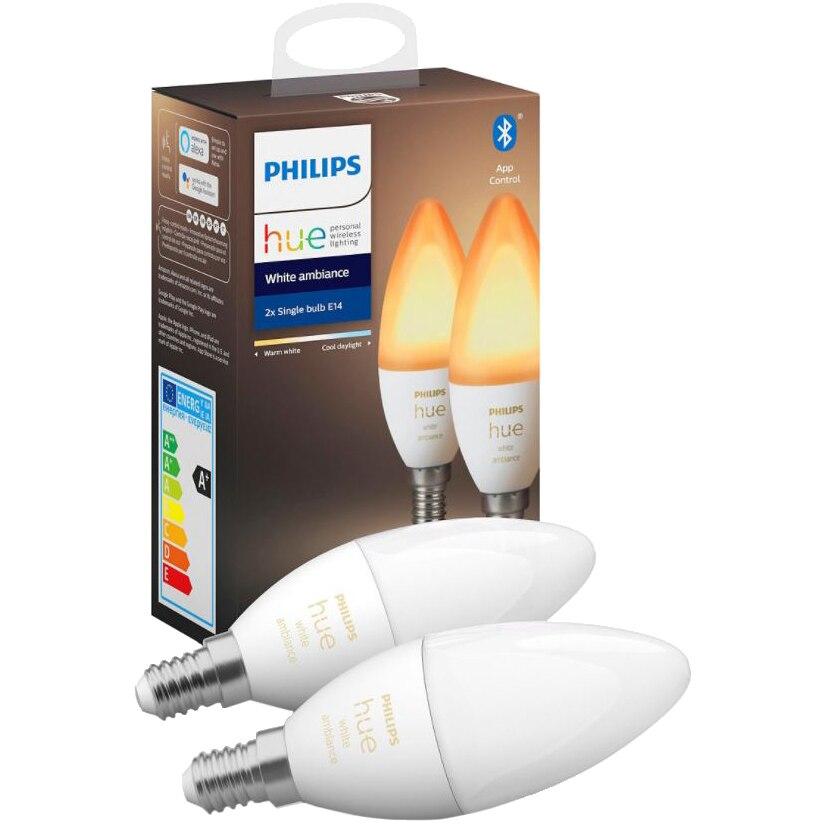 Fotografie Set 2 becuri inteligente LED Philips Hue, Bluetooth/Wireless, E14, 5.2W (40W), 470 lm, A+, temperatura lumina alba