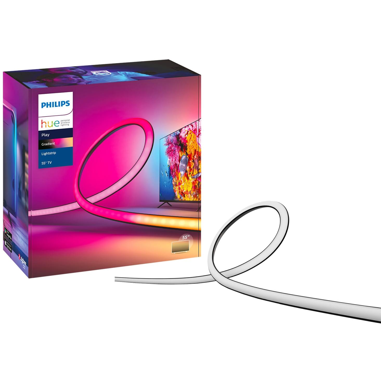 "Fotografie Banda LED RGBW inteligenta Philips Hue Play Gradient, pentru televizor 55"", 20W, 1100 lm, lumina alba si colorata, 216.5 cm, Silicon"