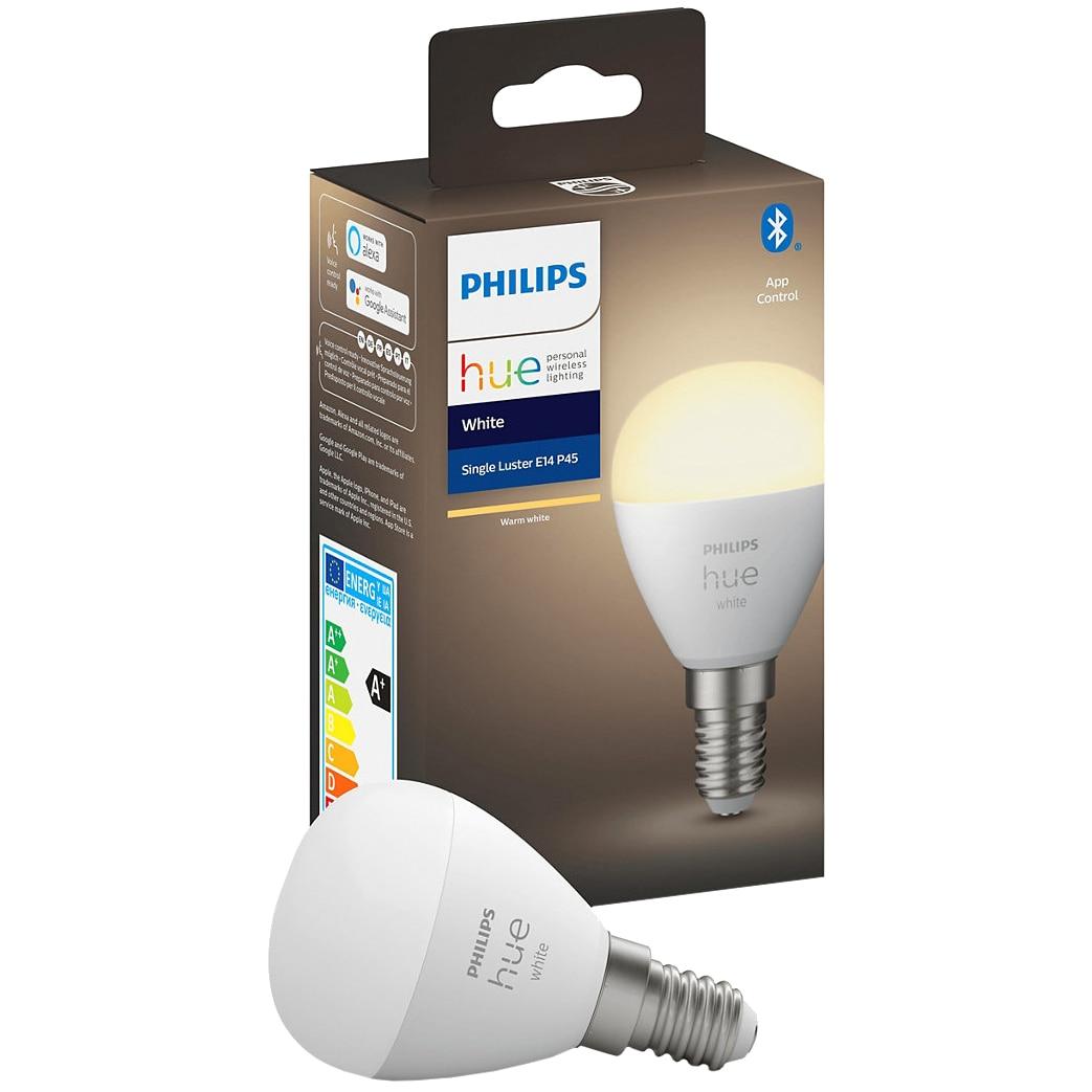 Fotografie Bec LED inteligent Philips Hue, Bluetooth/Wireless, lustra, P45, E14, 5.7W (40W), 470 lm, A+, lumina alba
