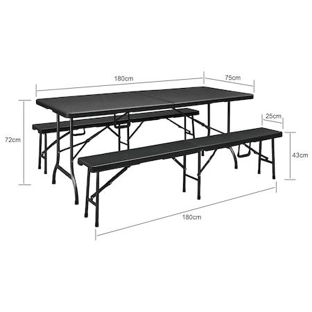 Set masa plianta + 2 banci pliabile gradina/terasa/curte, Kring Banquette, metal/plastic