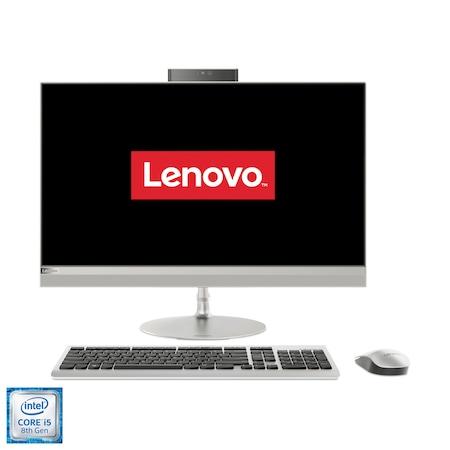 """Lenovo Ideacentre 520-27ICB All-in-One számítógép, Intel® Core™ i5-8400T processzorral max 3.30GHz, 27"""", QHD, 8GB DDR4, 256GB SSD M.2 PCIe + 1TB HDD, Intel UHD Graphics 630, No OS, Nemzetközi kiosztású angol billentyűzet, Ezüst, Egér + Billentyűzet"""
