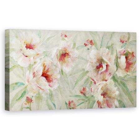 Tablou canvas - Flori, Rosu si Alb, Pictura, 60 x 120 cm